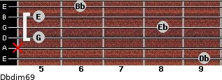 Dbdim6/9 for guitar on frets 9, x, 5, 8, 5, 6