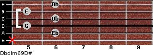 Dbdim6/9/D# for guitar on frets x, 6, 5, 6, 5, 6