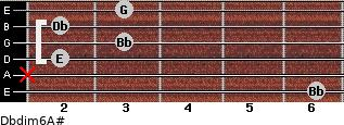 Dbdim6/A# for guitar on frets 6, x, 2, 3, 2, 3