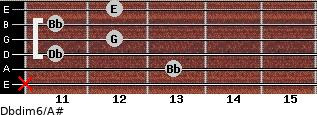 Dbdim6/A# for guitar on frets x, 13, 11, 12, 11, 12