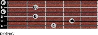 Dbdim/G for guitar on frets 3, 4, 2, 0, 2, 0