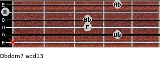 Dbdom7(add13) for guitar on frets x, 4, 3, 3, 0, 4