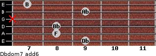 Dbdom7(add6) for guitar on frets 9, 8, 8, x, 9, 7