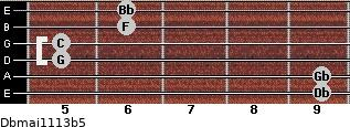 Dbmaj11/13b5 for guitar on frets 9, 9, 5, 5, 6, 6