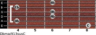 Dbmaj9/13sus/C for guitar on frets 8, 4, 6, 6, 4, 6
