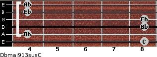 Dbmaj9/13sus/C for guitar on frets 8, 4, 8, 8, 4, 4