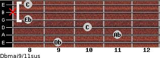 Dbmaj9/11sus for guitar on frets 9, 11, 10, 8, x, 8