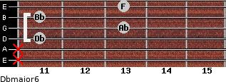 Dbmajor6 for guitar on frets x, x, 11, 13, 11, 13