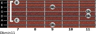 Dbmin11 for guitar on frets 9, 7, 11, 11, 9, 7