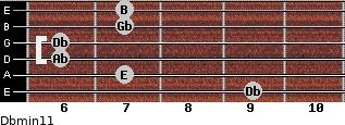 Dbmin11 for guitar on frets 9, 7, 6, 6, 7, 7