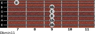 Dbmin11 for guitar on frets 9, 9, 9, 9, 9, 7