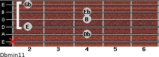 Dbmin11 for guitar on frets x, 4, 2, 4, 4, 2