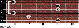 Dbmin6 for guitar on frets 9, 7, 6, 9, 9, 6