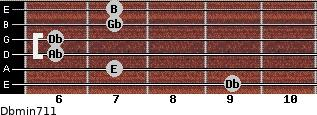 Dbmin7/11 for guitar on frets 9, 7, 6, 6, 7, 7
