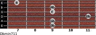 Dbmin7/11 for guitar on frets 9, 9, 11, 9, 9, 7