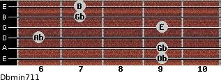 Dbmin7/11 for guitar on frets 9, 9, 6, 9, 7, 7