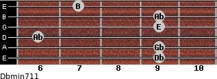 Dbmin7/11 for guitar on frets 9, 9, 6, 9, 9, 7