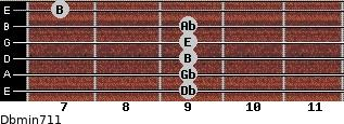 Dbmin7/11 for guitar on frets 9, 9, 9, 9, 9, 7