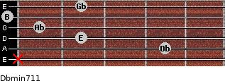 Dbmin7/11 for guitar on frets x, 4, 2, 1, 0, 2