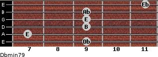 Dbmin7/9 for guitar on frets 9, 7, 9, 9, 9, 11