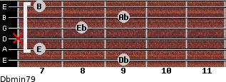 Dbmin7/9 for guitar on frets 9, 7, x, 8, 9, 7