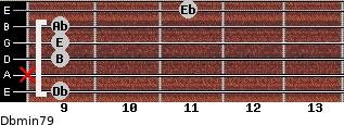Dbmin7/9 for guitar on frets 9, x, 9, 9, 9, 11