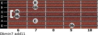 Dbmin7(add11) for guitar on frets 9, 7, 6, 6, 7, 7