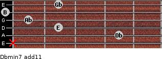 Dbmin7(add11) for guitar on frets x, 4, 2, 1, 0, 2