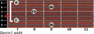 Dbmin7(add9) for guitar on frets 9, 7, x, 8, 9, 7
