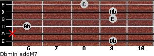 Dbmin(addM7) for guitar on frets 9, x, 6, 9, 9, 8