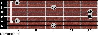 Dbminor11 for guitar on frets 9, 7, 11, 11, 9, 7
