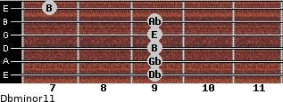 Dbminor11 for guitar on frets 9, 9, 9, 9, 9, 7
