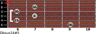 Dbsus2/4(#5) for guitar on frets 9, 6, 7, 6, 7, x