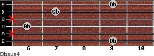 Dbsus4 for guitar on frets 9, x, 6, x, 7, 9