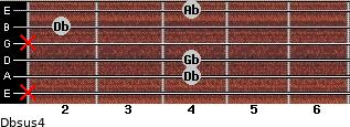 Dbsus4 for guitar on frets x, 4, 4, x, 2, 4
