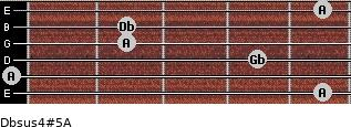 Dbsus4(#5)/A for guitar on frets 5, 0, 4, 2, 2, 5