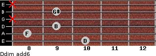 Ddim(add6) for guitar on frets 10, 8, 9, x, 9, x