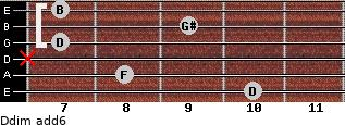 Ddim(add6) for guitar on frets 10, 8, x, 7, 9, 7