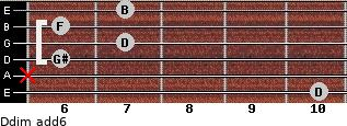 Ddim(add6) for guitar on frets 10, x, 6, 7, 6, 7