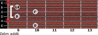 Ddim(add6) for guitar on frets 10, x, 9, 10, 9, x