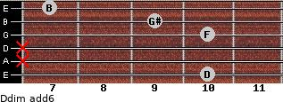 Ddim(add6) for guitar on frets 10, x, x, 10, 9, 7
