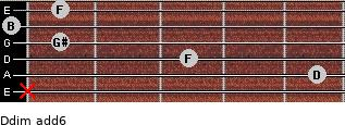 Ddim(add6) for guitar on frets x, 5, 3, 1, 0, 1