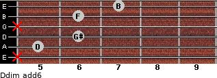 Ddim(add6) for guitar on frets x, 5, 6, x, 6, 7