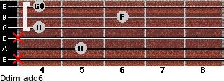 Ddim(add6) for guitar on frets x, 5, x, 4, 6, 4