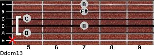 Ddom13 for guitar on frets x, 5, 7, 5, 7, 7