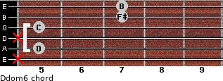 Ddom6 for guitar on frets x, 5, x, 5, 7, 7