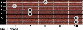 Dm11 for guitar on frets 10, 10, 7, 7, 6, 8