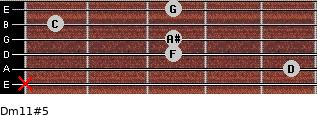 Dm11#5 for guitar on frets x, 5, 3, 3, 1, 3