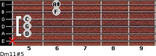 Dm11#5 for guitar on frets x, 5, 5, 5, 6, 6