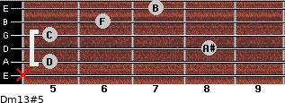 Dm13#5 for guitar on frets x, 5, 8, 5, 6, 7